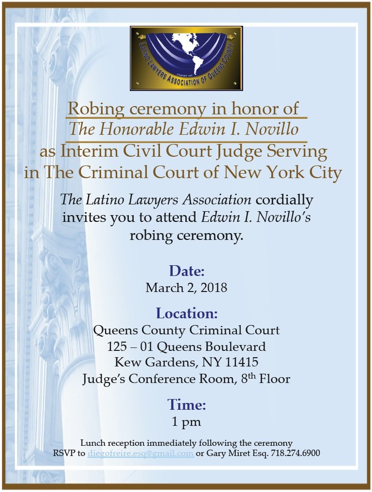 Hon Edwin Novillo Ceremony Invite